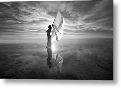 Metal Print featuring the photograph Angel Bw by Dario Infini