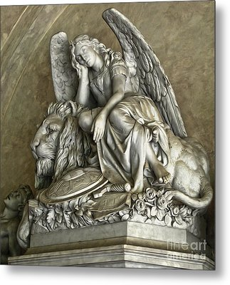 Angel And Lion Statue Metal Print by Gregory Dyer