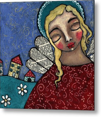 Angel And Village Metal Print by Julie-ann Bowden