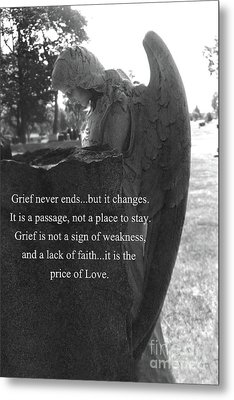 Angel At Grave - Mourning Angel, Sad Angel Art, Grieving Cemetery Angel Decor - The Price Of Love Metal Print