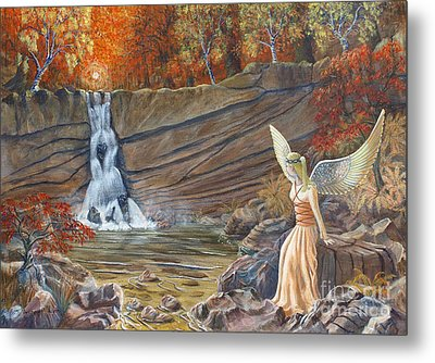 Angel At The Waterfall Metal Print