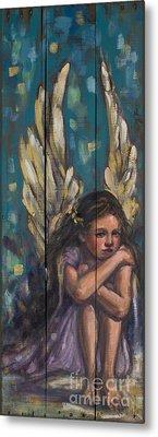 Angel Child Painting On Reclaimed Wood Metal Print by Kim Marshall