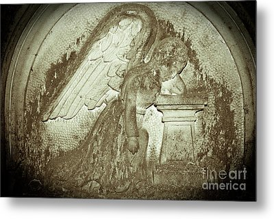 Metal Print featuring the relief Angel In Grief by Yurix Sardinelly