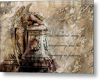 Angel Laying On Coffin Inspirational Angel Art Metal Print by Kathy Fornal