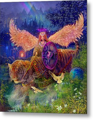Metal Print featuring the painting Angel Tarot Card Angel Fairy Dream by Steve Roberts