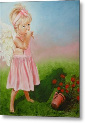 Metal Print featuring the painting Angel Thumbs by Joni McPherson