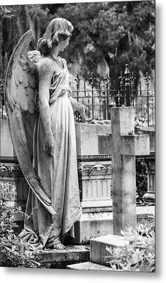 Angel With Cross Of Bonaventure Cemetery Metal Print by Steven Bateson