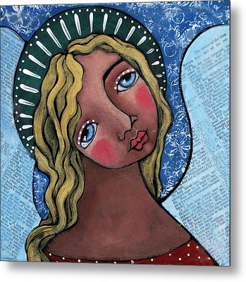 Angel With Green Halo Metal Print by Julie-ann Bowden