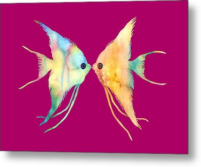 Angelfish Kissing Metal Print