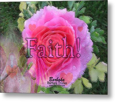 Metal Print featuring the photograph Angels Pink Rose Of Faith by Barbara Tristan