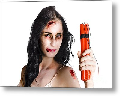 Angry Female Zombie With Dynamite Metal Print by Jorgo Photography - Wall Art Gallery
