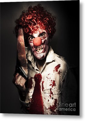 Angry Horror Clown Holding Butcher Saw In Darkness Metal Print by Jorgo Photography - Wall Art Gallery