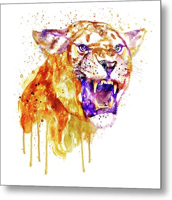Metal Print featuring the mixed media Angry Lioness by Marian Voicu