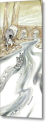 Angry Rat Pursuing Tin Soldier's Paper Boat - Tall Panoramic - Illustration Fragment Metal Print