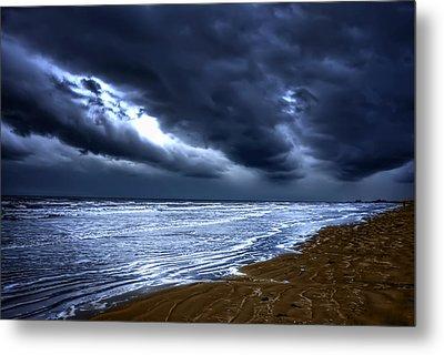 Angry Sky Peaceful Sea Metal Print
