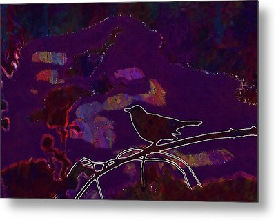 Metal Print featuring the digital art Animal Bird Dark Nature Silhouette  by PixBreak Art