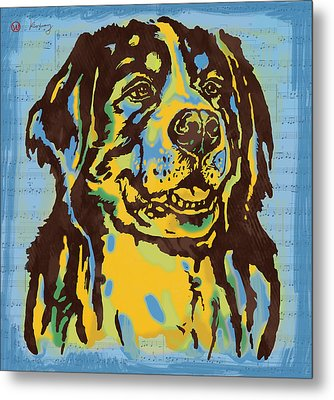 Animal Pop Art Etching Poster - Dog  15 Metal Print by Kim Wang