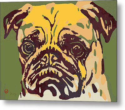 Animal Pop Art Etching Poster - Dog  18 Metal Print by Kim Wang