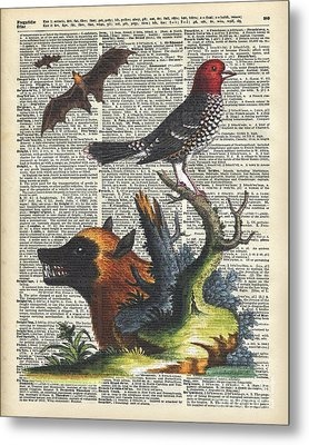 Animals Zoology Old Illustration Over A Old Dictionary Page Metal Print by Jacob Kuch