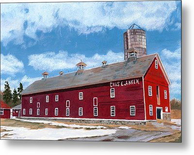 Metal Print featuring the painting Anken's Barn by Lynne Reichhart