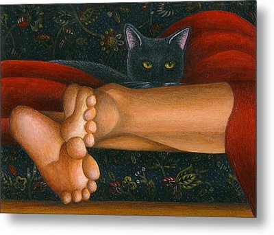 Ankle View With Cat Metal Print by Carol Wilson