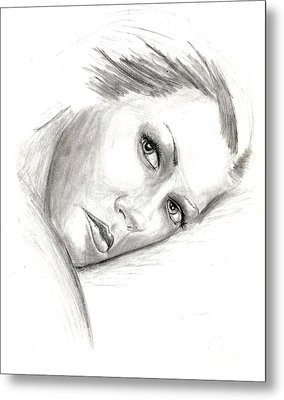 Metal Print featuring the drawing Ann by Michael McKenzie