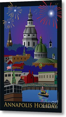 Annapolis Holiday With Title Metal Print