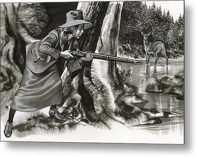 Annie Oakley Shooting A Buck Metal Print by Ron Embleton