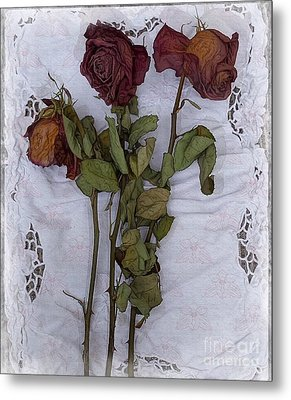 Metal Print featuring the digital art Anniversary Roses by Alexis Rotella