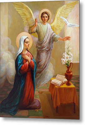 Metal Print featuring the painting Annunciation To The Blessed Virgin Mary by Svitozar Nenyuk