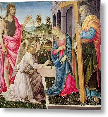 Annunciation With Saint Joseph And Saint John The Baptist Metal Print