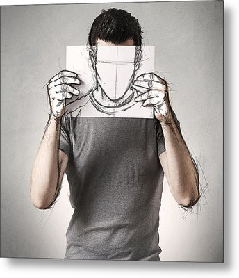 Anonymous Sketch Metal Print by Sebastien Del Grosso