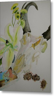 Metal Print featuring the painting Antelope Skull Pinecones And Lily by Beverley Harper Tinsley
