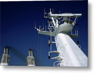 Antennas And Chimneys On A Large Ferry Metal Print by Sami Sarkis