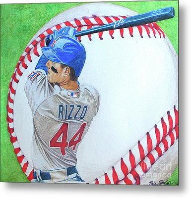 Metal Print featuring the drawing Anthony Rizzo 2016 by Melissa Goodrich