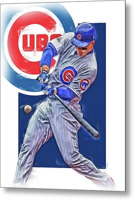 Anthony Rizzo Chicago Cubs Oil Art Metal Print