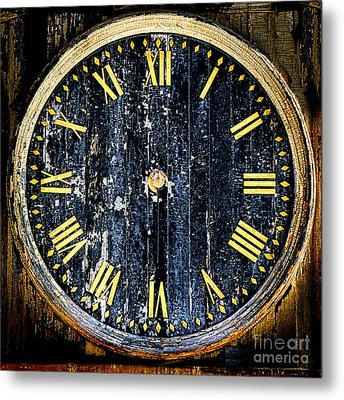 Antique Bell Tower Clock Metal Print by Olivier Le Queinec