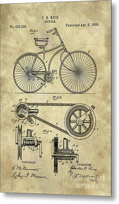 Antique Bicycle Blueprint Patent Drawing Plan, Industrial Farmhouse Metal Print