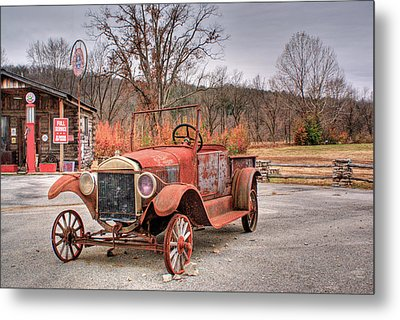 Antique Car And Filling Station 1 Metal Print by Douglas Barnett