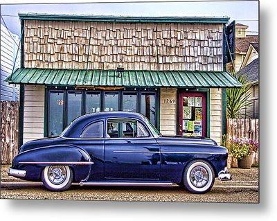 Antique Car - Blue Metal Print by Carol Leigh