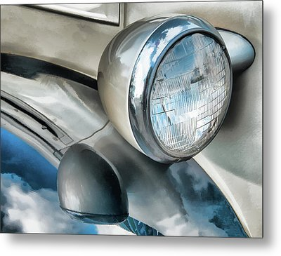 Antique Car Headlight And Reflections Metal Print