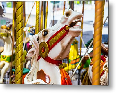 Antique Carrousel Horse Ride Metal Print by Garry Gay
