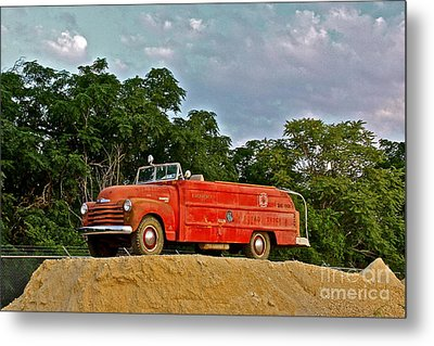 Antique Fire Truck - 8205 Metal Print