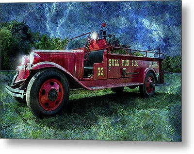 Antique Fire Truck Blended Metal Print by Photo Captures by Jeffery