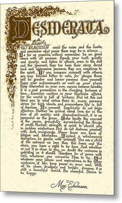 Antique Florentine Desiderata On Parchment. Metal Print