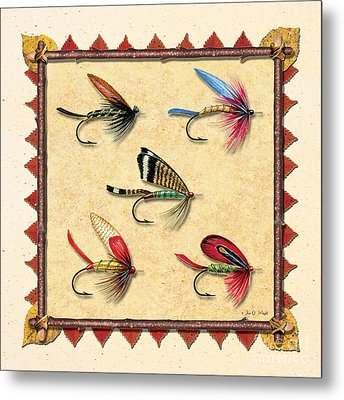 Antique Fly Panel Creme Metal Print by JQ Licensing