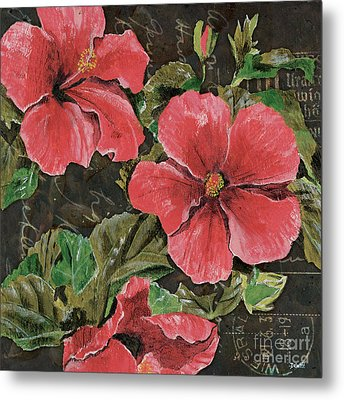 Antique Hibiscus Black 2 Metal Print