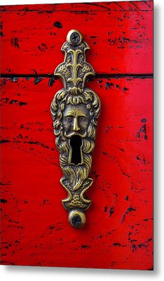 Antique Key Hole On Red Box Metal Print by Garry Gay