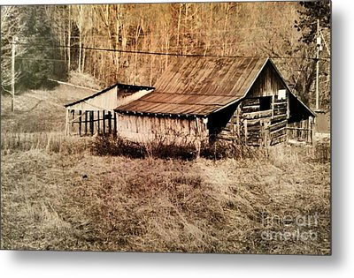 Antique Log Beam Barn Southern Indiana Metal Print