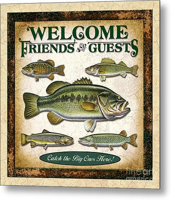 Antique Lure Fish Panel Three Metal Print by JQ Licensing Jon Q Wright